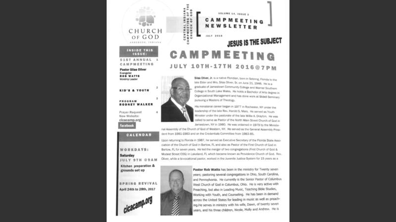 Camp Meeting: July 10-17